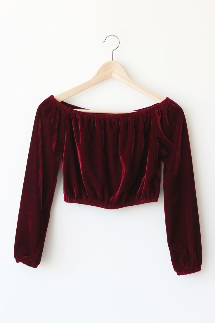 """- Details - Size - Shipping - • 100% Polyster • Velvet off shoulder top • Hand Wash • Line dry • Imported • Measured from small • Length 10.5"""" • Chest 14"""" • Waist 12"""" - Free domestic shipping on U.S."""