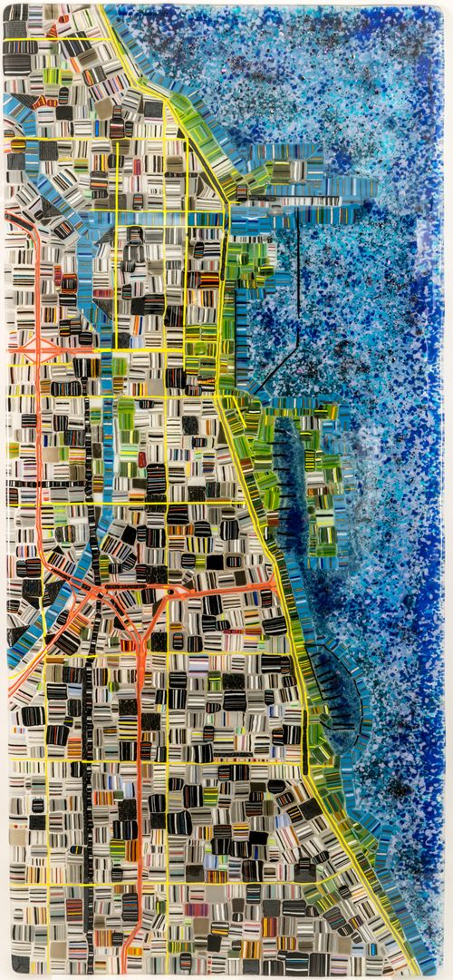Chicago Dma Map%0A Map of Chicago by Renato Foti  A striking  largescale map of Chicago   created from fused glass  Each map will vary  but will retain the style of  the map