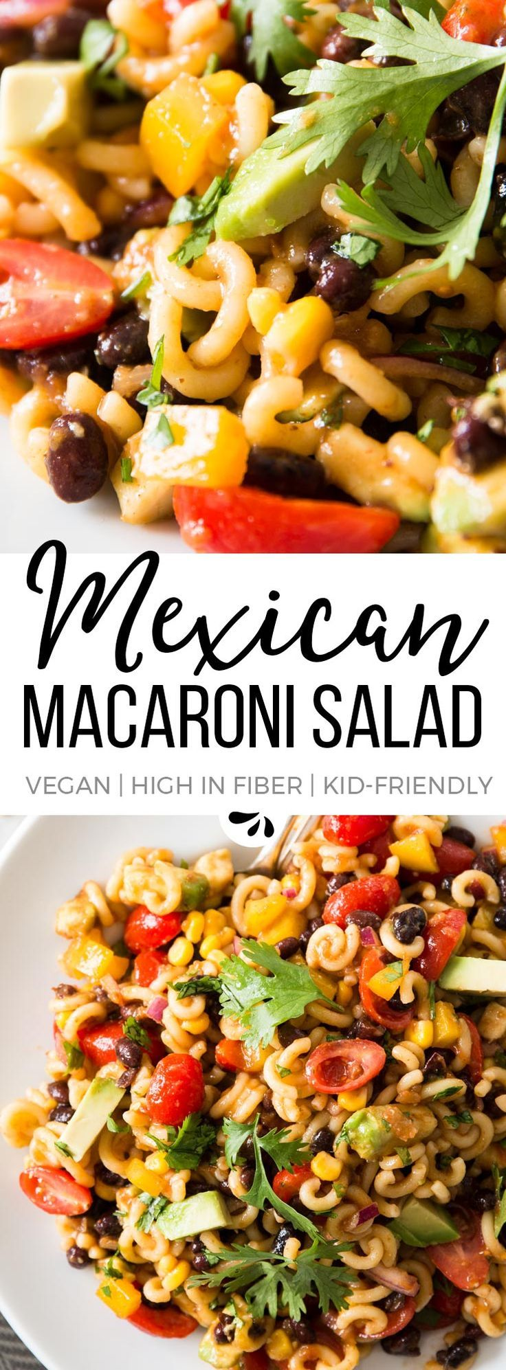 This Mexican Macaroni Salad is secretly healthy! Vegan, gluten free option and SO colorful! Make it for your next summer BBQ party or potluck - nobody will guess it's actually good for you. It's the p (Mexican Recipes For Dinner)