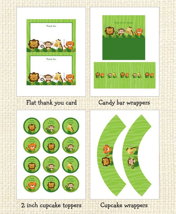 Safari Jungle Animal Printable Birthday Party Pack INSTANT DOWNLOAD