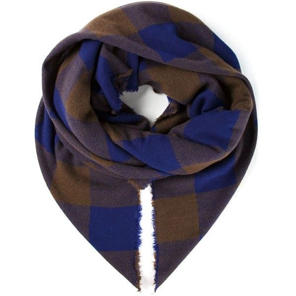 DANIELA GREGIS Checked Scarf ($360) ❤ liked on Polyvore featuring accessories, scarves, blue scarves, cashmere scarves, daniela gregis, blue shawl e cashmere shawl