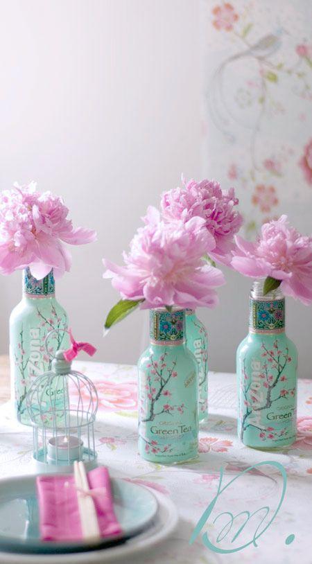 Re-use Arizona green tea bottles for vases: Japanese Tea Party