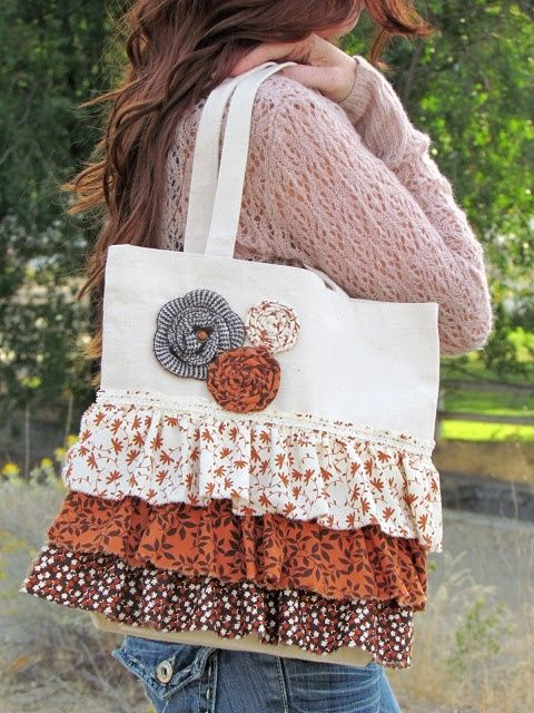 """DIY bag. I made one like this...but considerably bigger w/a """"shopping bag"""" flat bottom for a beach bag for my daughter. She loved it. I used leftover dropcloth fabric for bag body and scraps from old clothes for ruffles. Add a pocket or 2 inside w/velcro closure for keys and such."""