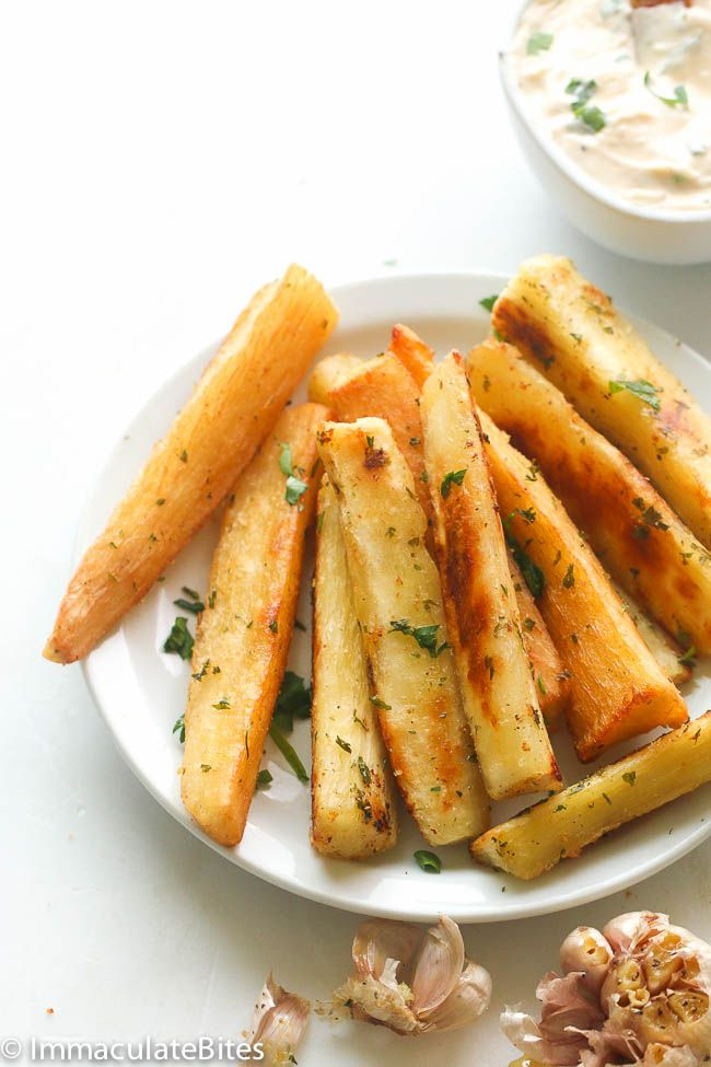 Yucca Fries-Light and crisp, fresh Yuccafries (Baked or fried) with anAromatic RoastGarlic Dipping Sauce.Savory, sweet and so healthy and delicious. I know you might have come across this funny looking brown tuber root in the supermarket and wander what the heck do you do with it. Well, wander no more. This is a great way …
