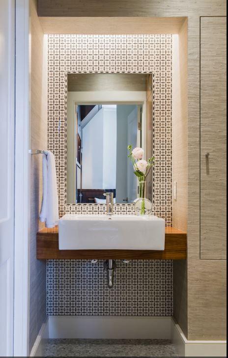 top mount porcelain sink Carrara hexagon floor