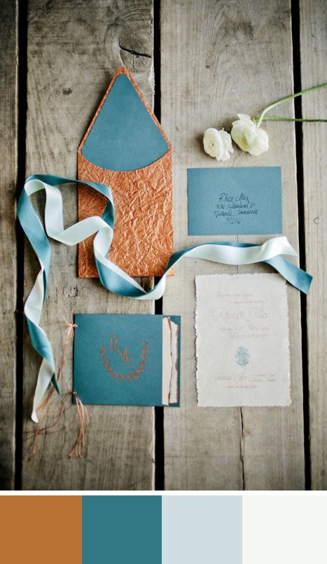 light blue and copper color inspiration