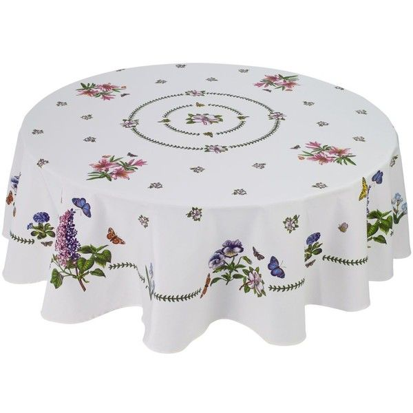 """Portmeirion Botanic Garden 70\"""" Round Tablecloth ($52) ❤ liked on Polyvore featuring home, kitchen & dining, table linens, ivory, cream tablecloth, ivory round tablecloths, off white tablecloth, round table linens and round tablecloths"""