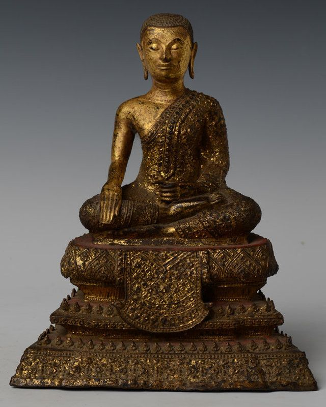 Shalinindia Buddhist Home Decor Sitting Tara Buddha Brass: 19th C., Thai Bronze Seated Disciple With Gilded Gold