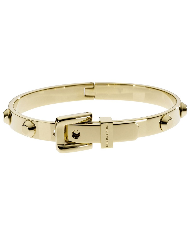 michael kors gold tone steel buckle bangle bracelet