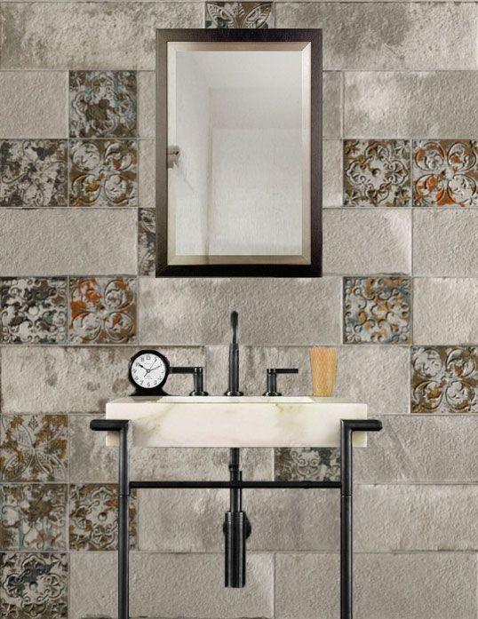 Состаренная плитка для интерьеров ванной комнаты в стиле индастриал и лофт