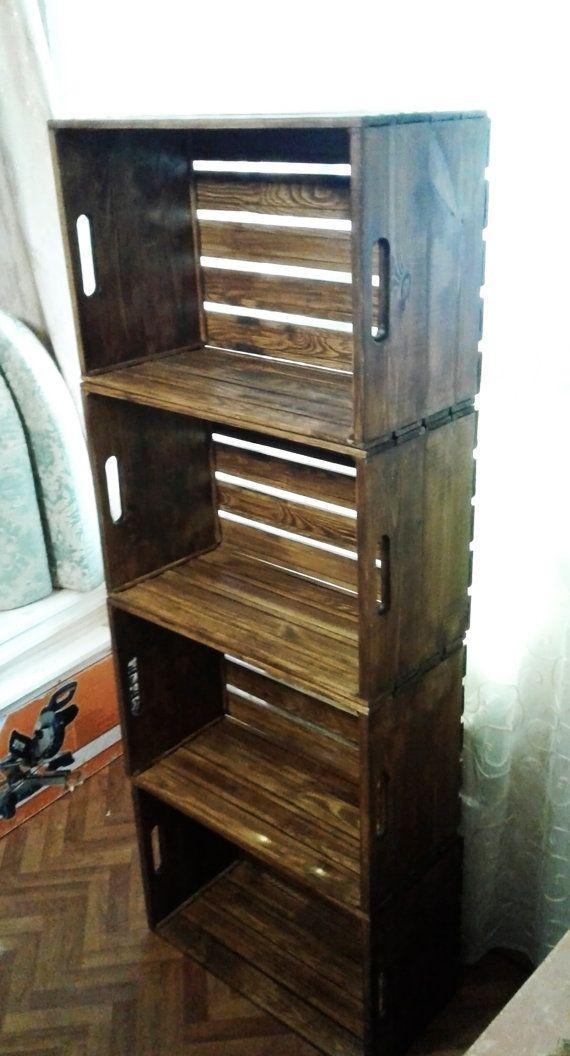 Librer a de madera r stica muebles de madera reciclada for Muebles con madera reciclada