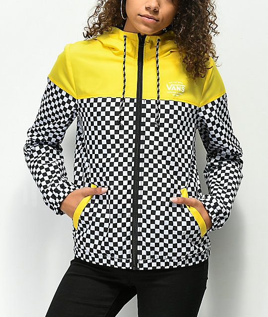 0326e2b17d14 Vans Kastle II Yellow   Checkerboard Windbreaker Jacket