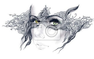 Wall Mural abstract decorated woman face