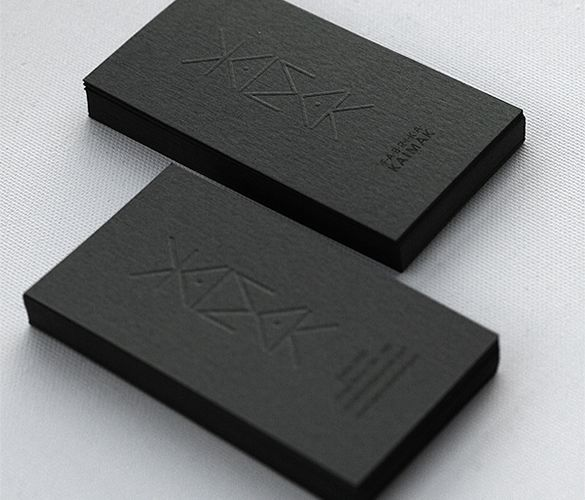 Kaimak Business Cards. Blck on black.