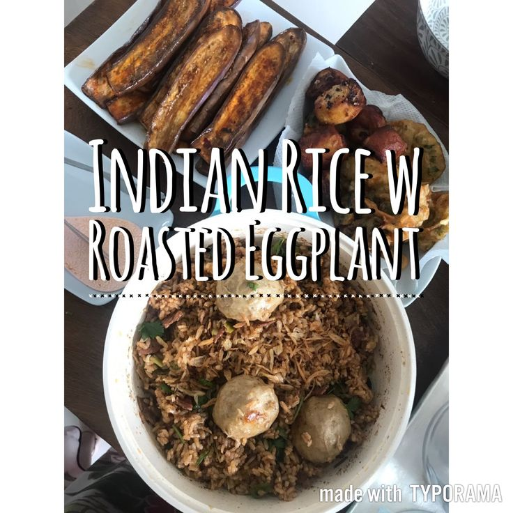 simple Indian rice with gochujang grilled eggplant