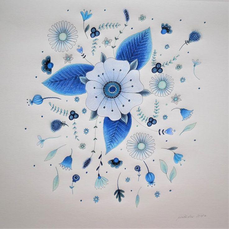 v modré