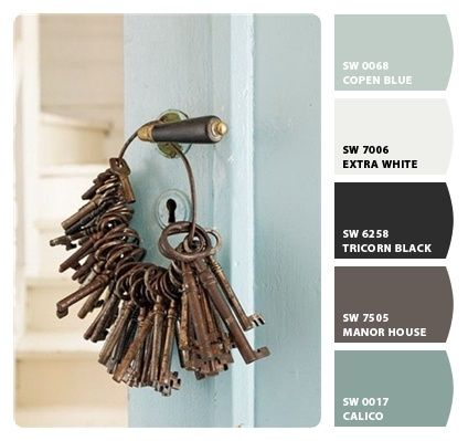 gray/tan/taupe exterior, black shutters,blue front door | followpics.co, perfect for Holly!