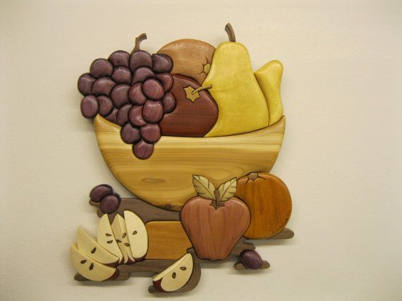 FRUIT Still Life intarsia wood carved  wall decor  by RAKOWOODS