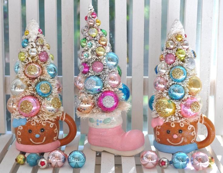 Pink Santa boot stocking Bottle Brush Trees Pink & by RuinBibber
