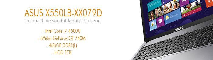 Usor si elegant, performant si ergonomic, dotat cu procesor Intel Core i7 din familia Haswell, placa video dedicata nVidia GeForce GT 740M, HDD de 1TB si memoie de 4GB sau 8GB, Asus X550LB-XX079D este cel mai bine vandut laptop din seria X550LB.  http://wp.me/p3boNm-Kq