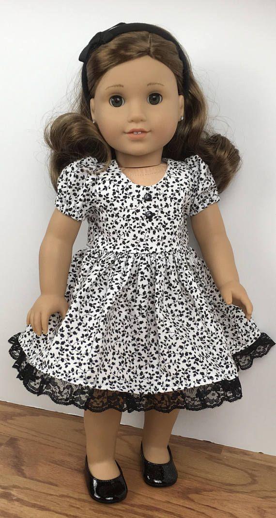 18 doll white and black print dress/Oh Sew Kat pattern