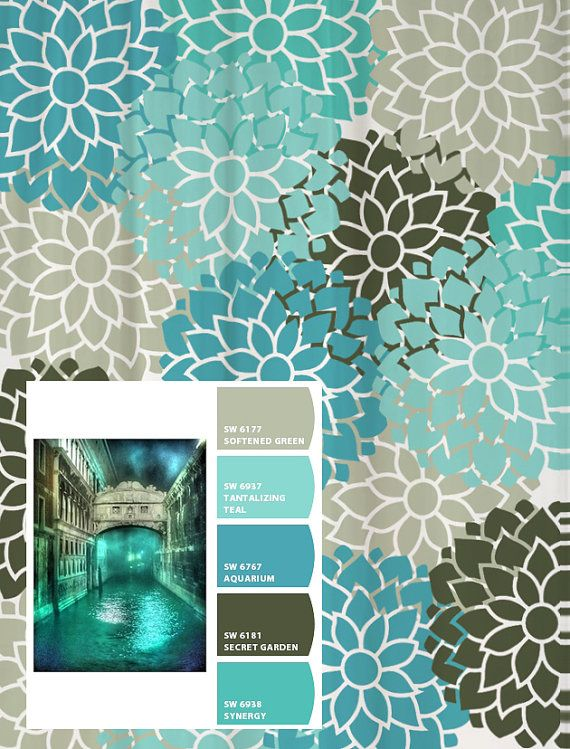 Shower Curtain In Turquoise Aqua Blue And Gray Standard And Extra Lon
