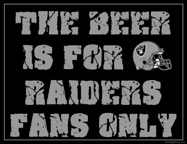 Oakland Raiders Fan Sign - Man Cave Sign