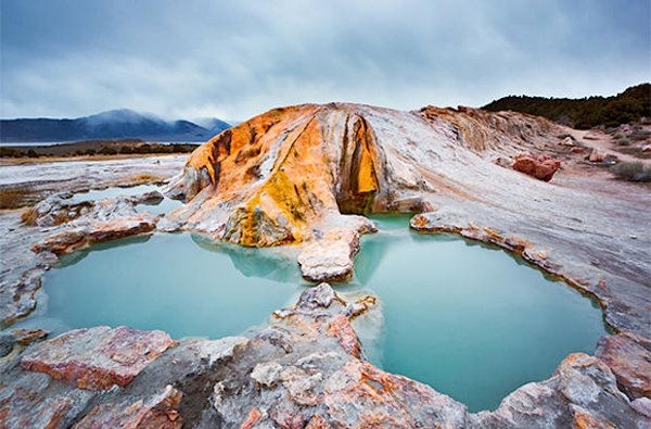 Travertine Hot Springs is about two hours south of Reno. Take Route 395 south of Bridgeport for half a mile, then turn left at Jack Sawyer Road and follow the dirt road for about one mile.