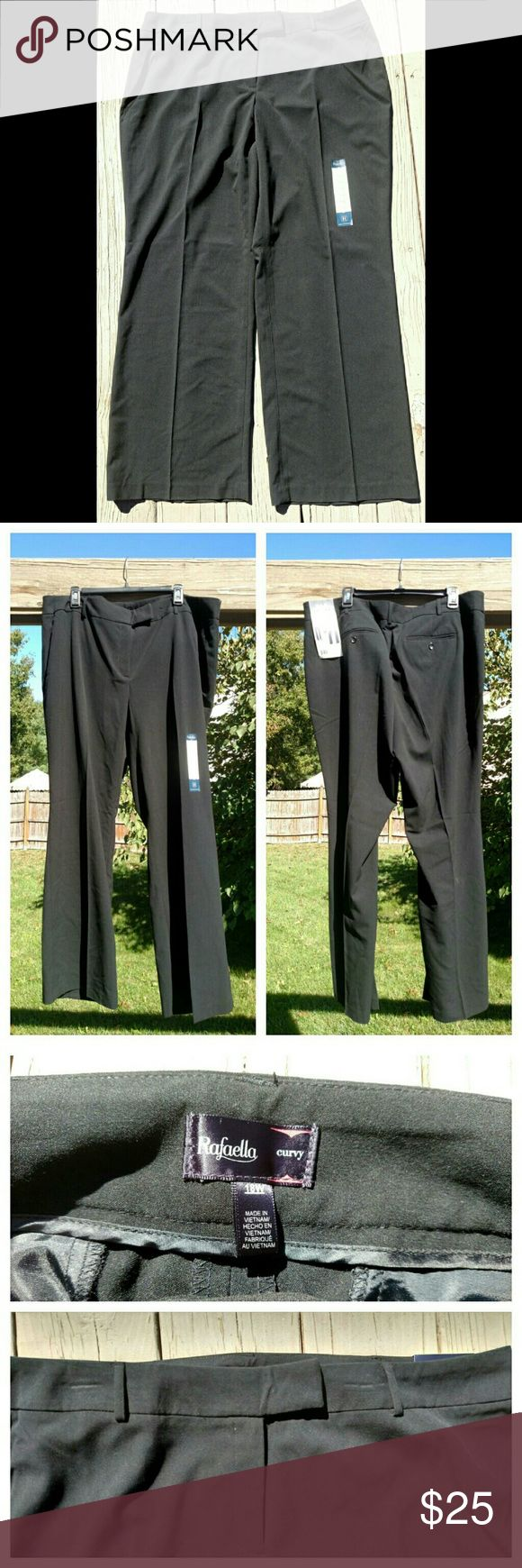 ➕Black Dress Pants➕ Black dress pants from Rafaella! NWT, never worn. Size 18W. These pants are Curvy Fit for the needs of a plus size queen! The legs are pleated down the front for a crisp, trouser feel. Button and hook closure at the waist. Can be worn with a belt. Great pants! Rafaella Pants Trousers