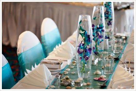 Centros de mesa color turquesa parte 3 centros de mesa for Cheap ways to decorate wedding tables