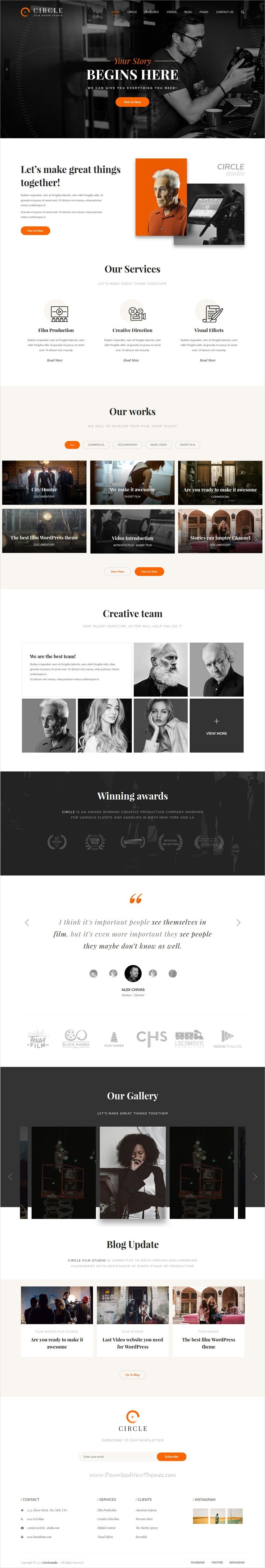 Circle is clean and modern design 7in1 responsive #WordPress theme for multipurpose #film, Video and movie production companies website download now #webdesign