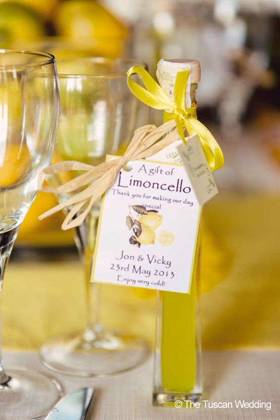 Personalized Limoncello is the perfect Italian wedding favor.