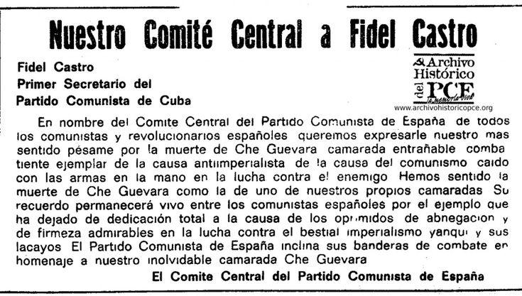 Nota del Comité Central del Partido Comunista de España a Fidel Castro. Mundo Obrero, octubre 1967