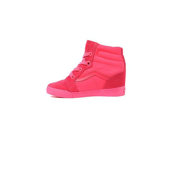 Vans Footwear The Sk8-Hi Wedge Sneaker in Neon Red ($38) ❤ liked on Polyvore featuring shoes, sneakers, red sneakers, suede wedge sneakers, wedge heel sneakers, suede sneakers and red wedge shoes