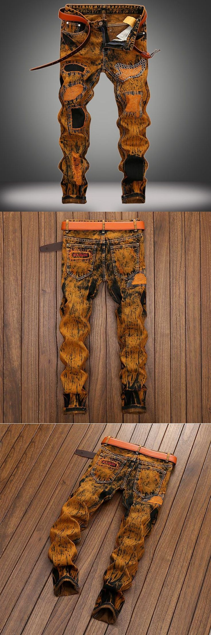 Hot Tide BIKER&Moto JEANS Men's Trousers And The European Big size 28-42 Paint Coating Male Straight Stretch Jeans Vintage Pants
