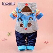 2016 Hight Qualidade Fox Roupas de Bebê Outono Inverno Vestido Infantil Colete + Casaco + Calças 3 peça suit Roupa Das Crianças Equipamento bonito(China (Mainland))