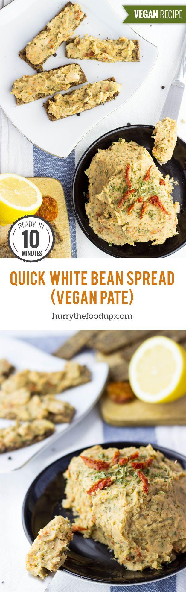 Quick White Bean Spread (vegan pâté) #vegan | hurrythefoodup.com
