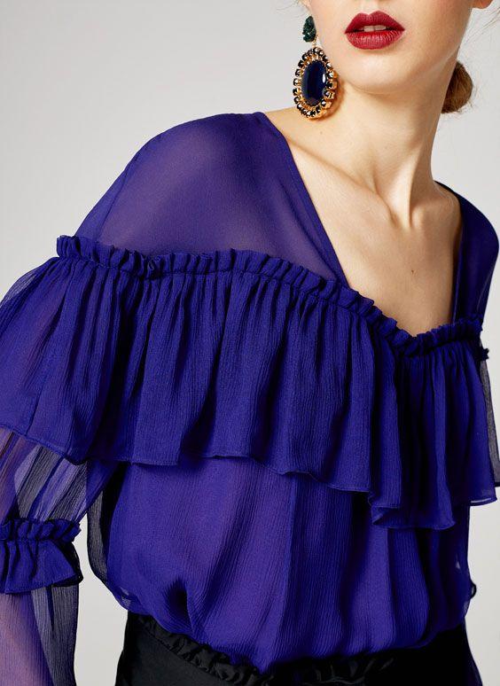 Uterqüe España Product Page - Colección - Ver todo - Camisa seda volantes - 89