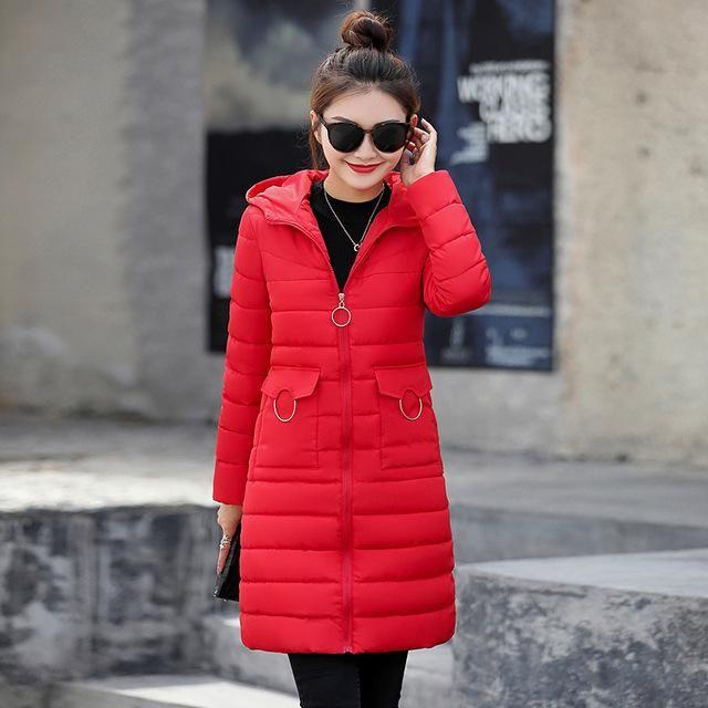 winter jacket 2018 women fashion solid slim fit down jackets thick warm pockets pompom hooded jacket outwear plus size 3 Red XXL