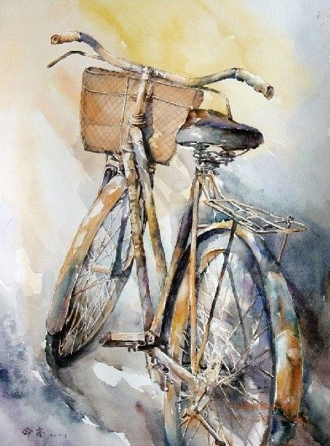 Watercolor bike. Try using watercolor paints to draw everyday objects.