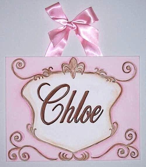 Pink Brown Fleur de lis Crest Custom canvas letter name sign wall nursery child family scroll princess girl