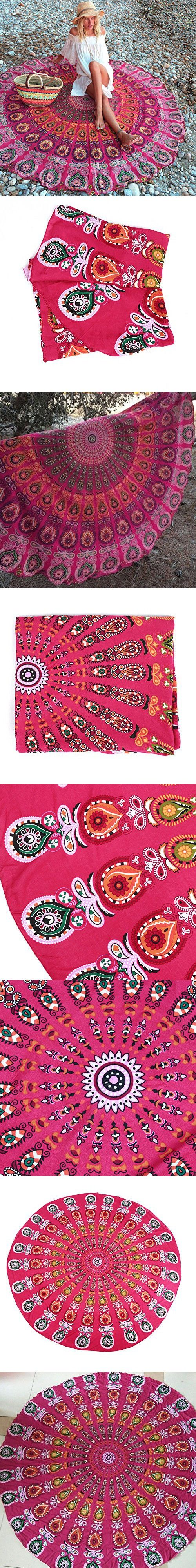 NALEDI Beach Cloth Cotton Mandala Round Towels, Beach Throw, Yoga Mat, Picnic Mat , Table Throw(Red)