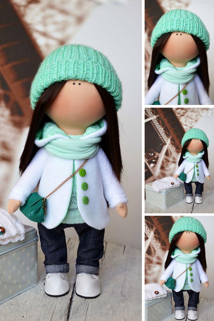 Fabric doll Handmade doll Rag doll Tilda doll Art doll Interior doll Green doll Soft doll Nursery doll Cloth doll Collectable doll by Olga