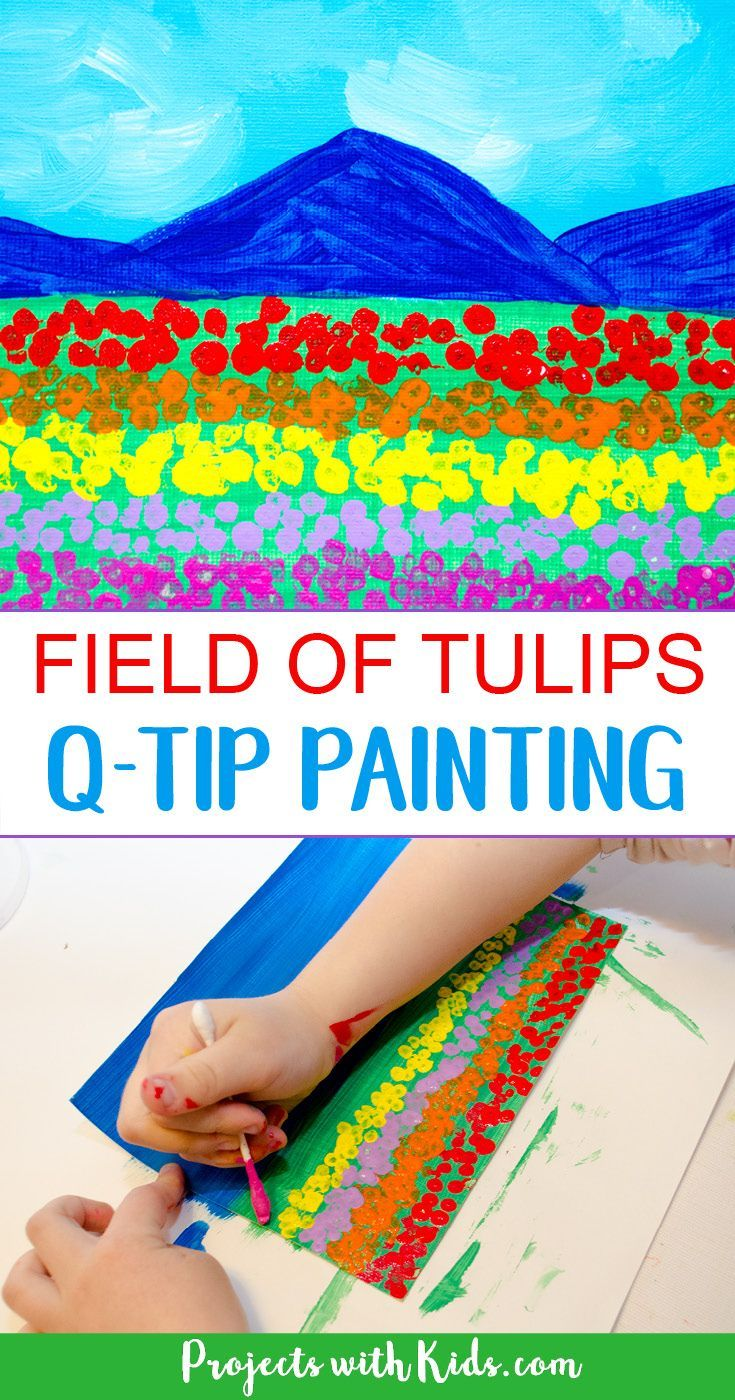 Kindergarten - field of tulips q-tip painting. Foreground, middle ground, background