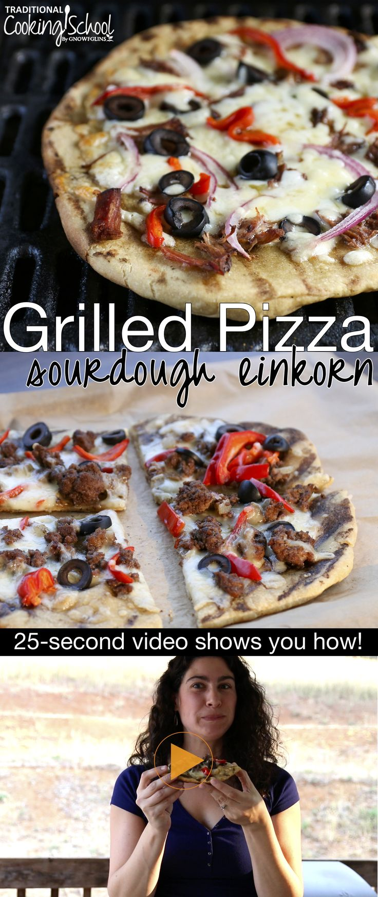 Hellooooo, pizzzzzaaaa! Grilled {sourdough einkorn} pizza! With a 25-second video. :) Go here to grab the recipes you'll need to make it yourself: http://traditionalcookingschool.com/grillpizza