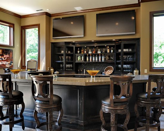 Bar Design, Elegant Traditional Home Bar Counter With Luxury Teak Wooden Bar  Stools With Back