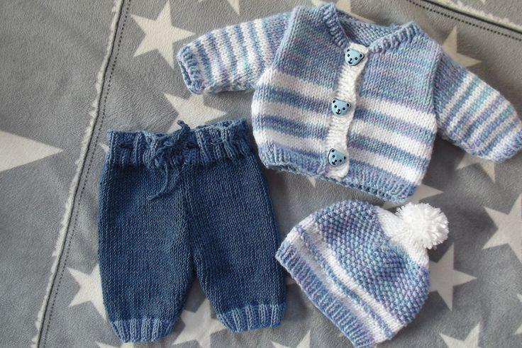 Pletený komplet pro panenku chlapečka Na přání. Svetr na knoflíky. Pletené kalhoty v pase na šňůrku.