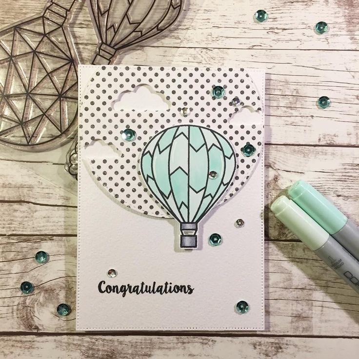 I just can't stop playing with these awesome hot air balloon from @krumspring_ and I tried to make a little foto scene - what do you think? #mitkammer #cardmaking #copiccoloring #krumspringstamps #adventuresahead #hotairballoon #clouds #mintgreen #jadegreen #palegreen #dots #blackandwhite #sequins #silver #mint #congratulations #craftygirl #handmadewithlove #kartendesign #papercraft #happytime