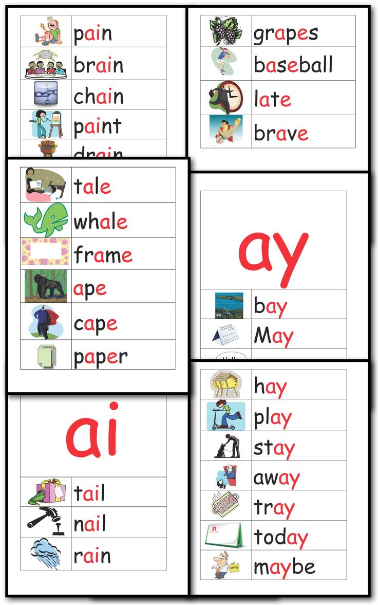 10 pages illustrating 34 Long A words using a__e, ai, ay.  FREE