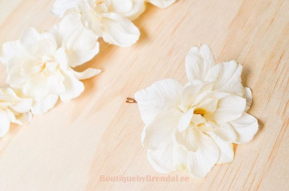 BRENDA LEE A set of 2 Cream Delphinium Flower bobby pin floral hair accessory/wedding bridal bridesmaid bride flower girl hair clip on Etsy, $23.10 CAD
